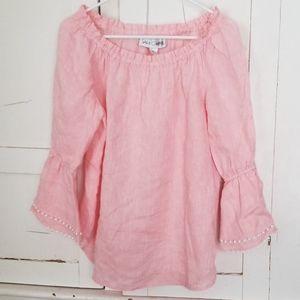 Sarah Campbell pink linen top M